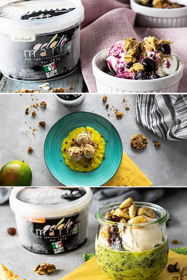 """Hier findest du 3 leckere Eisbecher-Rezepte zum schnellen Nachmachen für zuhause. Diese Rezepte sind super schnell gemacht und eignen sich optimal für einen Notfall Nachtisch/ dessert oder Party Snack. Wenn du die Zutaten variierst sind sie sogar glutenfrei und vegan. Hierzu haben wir auch ein paar Tipps für dich! Außerdem geben wir die auch tolle Ideen für leckere Toppins. Das erste Rezept ist unser Veganer Melonenbecher mit karamellisierten Nüssen und Kiwipürree. Wenn du dich glutenfrei ernährst kannst du ganz leicht unseren Glutenfreien New-York-Crunchy-Eisteller Nachmachen. Du magst lieber Yoghurteis? Dann probiere unsere heiße Blaubeerliebe."""""""